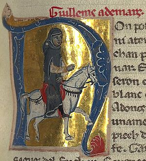 Guilhem Ademar - Miniature of Guilhem from a 13th-century Lombard chansonnier (BnF ms. 12473)