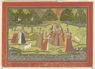 Krishna being adored by ladies, watched by monkeys in trees and by cattle