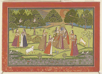 Gopi - Krishna and Gopis.18th century watercolour held by the Bodleian Library
