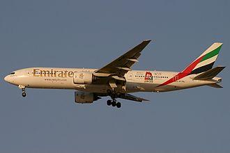 Dubai Shopping Festival - Emirates aircraft advertising the festival in 2005.