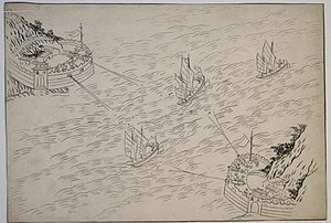 Battle of the Bogue - Chinese drawing of the Anunghoy forts, found in the house of Guan, representing the expected attack of the British