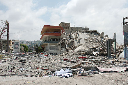 A building in Ghazieh, near Sidon, bombed by the Israeli Air Force (IAF) Bombed commercial centre.jpg