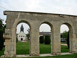 The arches in front of the church