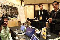 Booth by Odia Wikimedians User Group, OFDN and Wikitongues at Wikimania 2018 (43688732431).jpg