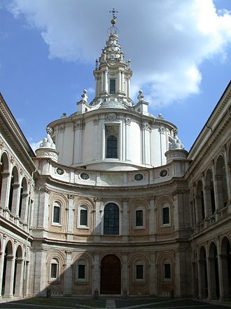 Francesco Borromini - Sant'Ivo alla Sapienza, courtyard and façade.