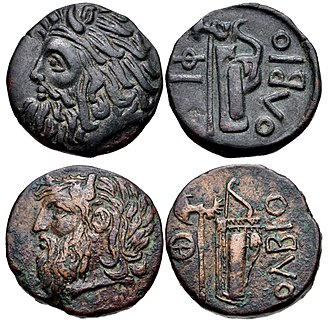 Borysthenes - Two examples of Olbia coins (3rd-1st century BC), showing the bearded head of river-god Borysthenes