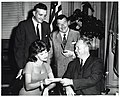 Boston City Councilor Patrick McDonough and Mayor John F. Collins with entertainers Xavier Cugat and Charo (10425720574).jpg