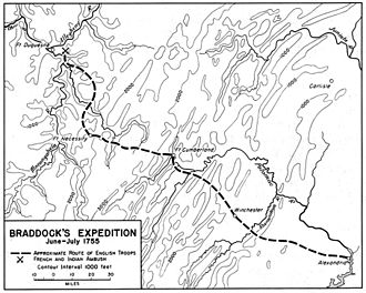 Robert Dinwiddie - Topographic map of Virginia detailing, inter alia, the path of the Braddock Expedition.