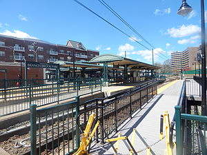Branch Brook Park (NLR station) - Branch Brook Park station in April 2015 from the ramp to Heller Parkway.