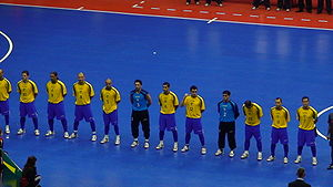 Futsal - The Brazil national futsal team line up before a match.