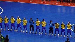 Futsal - The Brazil national futsal team line up before a match.