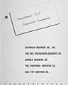 """Brewery advertising by five competing local breweries that joined together to give """"Compliments to a Progressive Community"""" for Reading, Ohio in 1951 from Reading centennial souvenir (page 89 crop).jpg"""