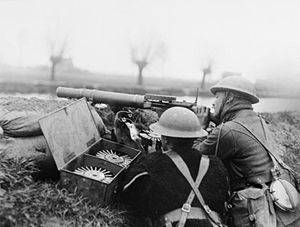 Spring Offensive - British Lewis gun team on the bank of the Lys canal during Battle of Hazebrouck, 15 April 1918