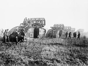 Fascine - British Mark V tanks carrying crib fascines, 1918.