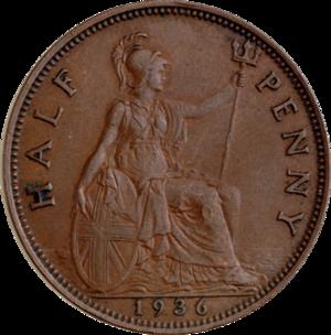 Halfpenny (British pre-decimal coin) - Original reverse: 1717–1936