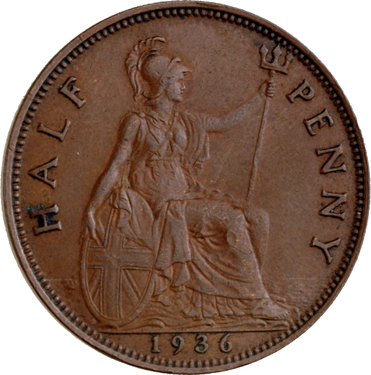 British pre-decimal halfpenny 1936 reverse
