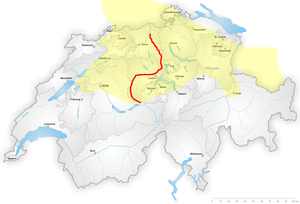 German-speaking Switzerland - Distribution of High Alemannic dialects; marked in red is the Brünig-Napf-Reuss line.