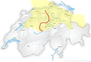 Brünig-Napf-Reuss line - The Brünig-Napf-Reuss line. Marked in yellow is the area of High Alemannic German.