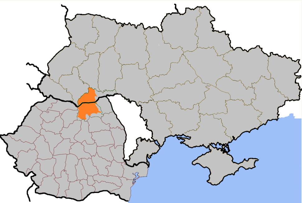 Location of Bukovina within northern Romania and neighbouring Ukraine