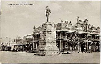 Company rule in Rhodesia - Statue of Rhodes in Bulawayo, 1920s