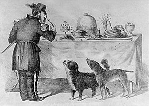 Bummer and Lazarus - The Three Bummers. Edward Jump's cartoon shows Bummer and Lazarus begging scraps from Emperor Norton.