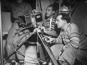 Woman in the Moon - Director Fritz Lang (on the right), on the set of his film Woman in the Moon, 1929.