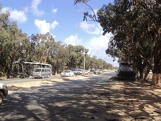 Second Battle of Benghazi - Burned buses near Garyounis university, Benghazi, possibly of pro-Gaddafi forces, as a result of the ground battle.