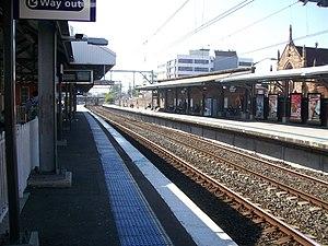 Burwood railway station, Sydney - Westbound view from Platforms 5