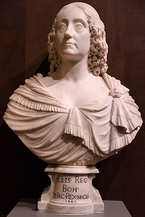 François Dieussart - Bust of Elizabeth, Queen of Bohemia. Marble, circa 1641 CE. By Francois Dieussart. From the Dutch Republic, Now the Netherlands. The Victoria and Albert Museum, London