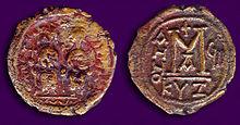 Bysantinska 40 Nummi Coin Justin II & Sophia 572AD.jpg