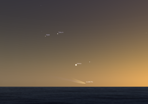 C/1807 R1 - Artist's depiction of the western sky slightly after sundown on 9 September 1807 in Sicily (view looking west over the Mediterranean)