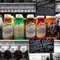 CBD-infused cold brew coffee & tea at a grocery store in Los Angeles, California..png