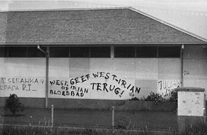 West New Guinea dispute - Graffiti against the presence of the Netherlands in West Irian.