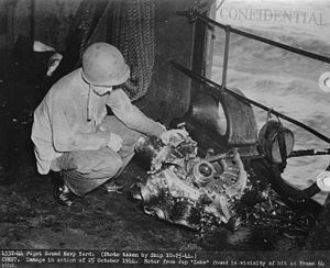 USS Suwannee (CVE-27) - USS Suwannee after the kamikaze attack from 25 October 1944. Parts of the A6M5 Zero's Nakajima Sakae 21, 14-cylinder radial engine were found in the vicinity of the hit. Cylinder heads are destroyed, connecting rods and crankshaft are visible.