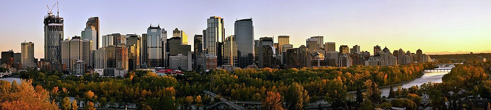 ‪ View of downtown Calgary, in the summer of 2011, as seen from Crescent Heights bluff during sunset. ‬