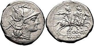 Calpurnia (gens) - Denarius of Gnaeus Calpurnius Piso, 2nd Century BC.  The obverse features a head of Roma, while the reverse depicts the Dioscuri.