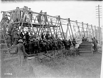 Battle of the Canal du Nord - Canadian Combat Engineers building a bridge across the Canal du Nord, September 1918