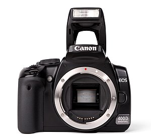 Canon EF-S lens mount - An EF-S compatible body, the Canon EOS 400D, with open lens mount