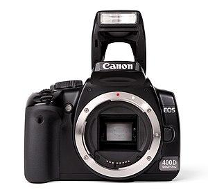 Deutsch: Frontansichte der Canon EOS 400D mit ...