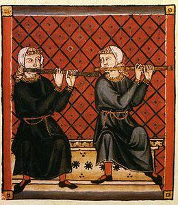 Fuvolások a Cantigas de Santa Maria középkori kézirat illusztrációján. Jól látható, hogy akkoriban a hangszert a maihoz képest fordított helyzetben, fordított kéztartással használták
