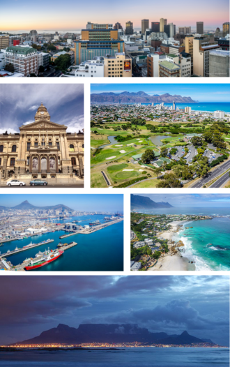 Cape Town - Clockwise from top: Cape Town CBD, Strand, Clifton beach, Table Mountain, Port of Cape Town, Cape Town City Hall