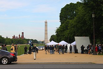 Captain America: The Winter Soldier - Film set for Captain America: The Winter Soldier on the National Mall.