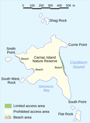 Carnac Island - Map of Carnac Island with features.