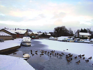 Lancaster Canal - Basin at Carnforth, frozen over in the winter