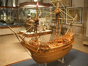 Christopher Newport - Model of the Portuguese Carrack Madre de Deus. Newport helped in the capture of this large rich vessel off the Azores in 1592