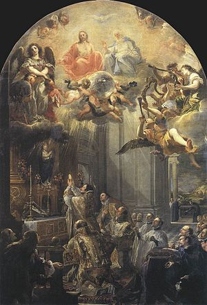 Elevation (liturgy) - Elevation of the Host, with vision of St John of Matha, painting by Juan Carreño de Miranda, 1666