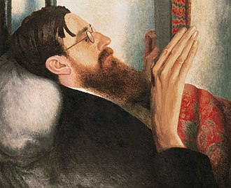 Lytton Strachey - A study of Strachey's face and hands by Carrington