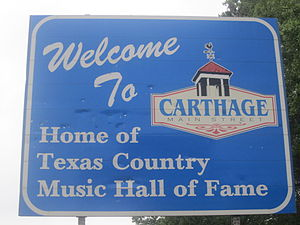 Carthage, Texas - Carthage welcome sign