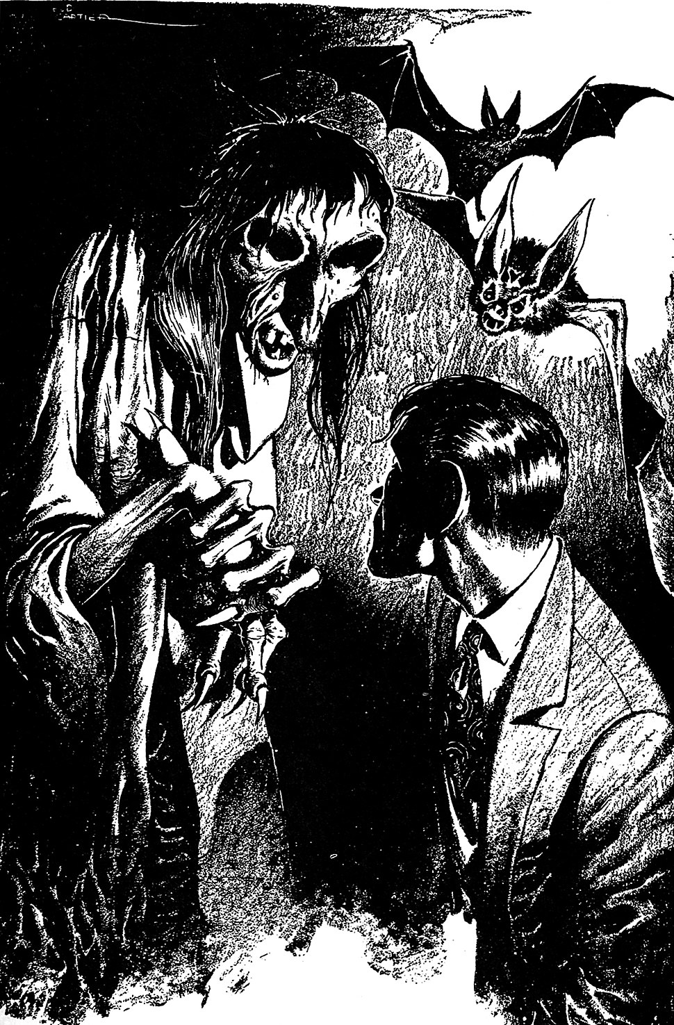 Monochrome drawing: a suited man confronts a skeletal supernatural creature, over whose shoulder two giant bats are visible