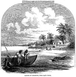 """Etching of a view of Kingston Harbor from """"Rae's Town"""" by W.E. Sewell, 1861"""